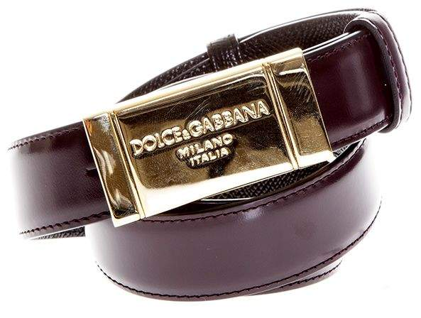 Dolce & Gabbana Dauphine Leather Reversible Belt