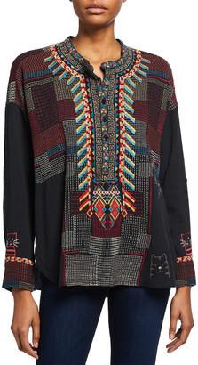 Johnny Was Roza Embroidered Gauze Blouse