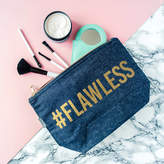 The Little Picture Company '#Flawless' Gold And Denim Make Up Case