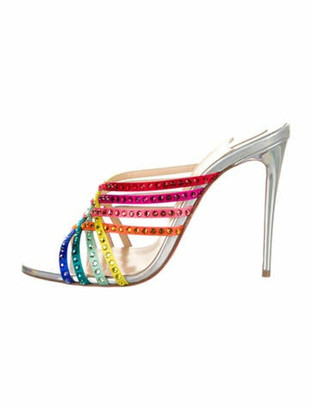 Christian Louboutin Leather Colorblock Pattern Slides Silver