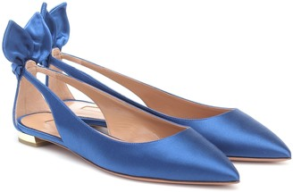 Aquazzura Bow Tie satin ballet flats