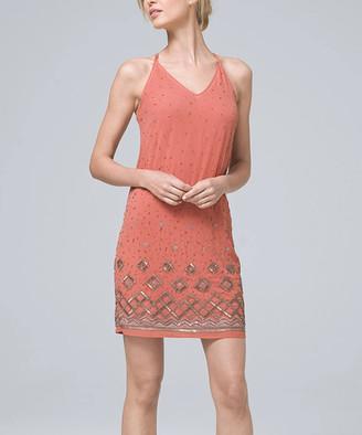 White House Black Market Women's Casual Dresses Adobe - Adobe Embellished Sleeveless V-Neck Shift Dress - Women & Juniors