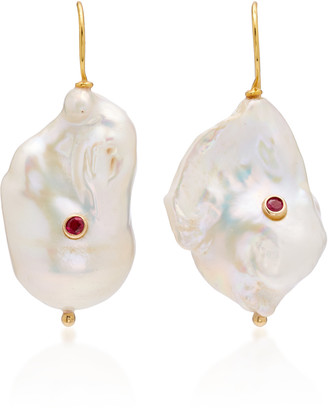 Ranjana Khan Pearl With Ruby Drop Earrings