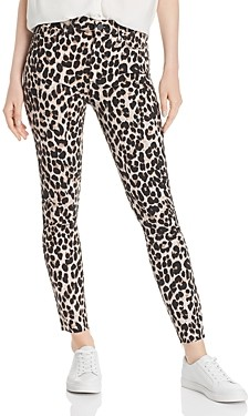Paige Hoxton Raw Hem Ankle Jeans in Pink Leopard