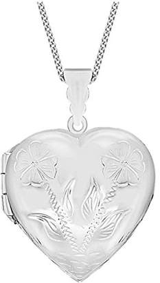 Tuscany Silver Sterling Silver Large Engraved Heart Locket Pendant on Curb Chain of 46cm/18""