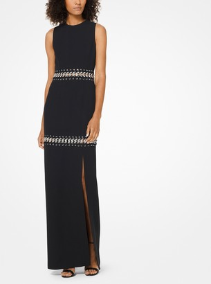 Michael Kors Chain-Link Double Crepe-Sable Gown