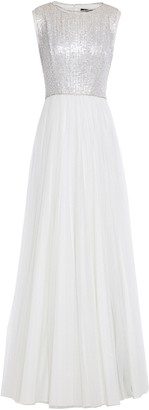 Jenny Packham Pleated Embellished Glittered Tulle Gown