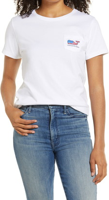 Vineyard Vines Flag Whale Pocket Tee