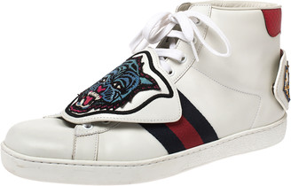 Gucci White Leather, Python Trim And Web Detail Lion Patch Ace High Top Sneakers Size 42.5