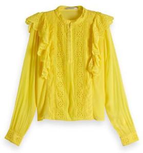 Maison Scotch Yellow Feminine Embroidered Top - S - Yellow