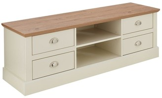 Crawford 3 Piece Package - TV Unit, Coffee Table and Lamp Table - Ivory/Oak Effect