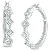 Zales 1/10 CT. T.W. Diamond Tilted Square Hoop Earrings in Sterling Silver