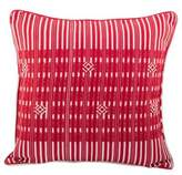 Hand Woven Square Cushion Cover in Deep Red Cotton, 'Crimson Paths'