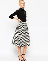 Asos Midi Prom Skirt in Chevron with Zip Detail