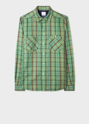 Paul Smith Men's Tailored-Fit Green Cotton-Linen Check Shirt