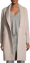 Peserico Shawl-Collar Wool-Blend Cocoon Coat, Beige