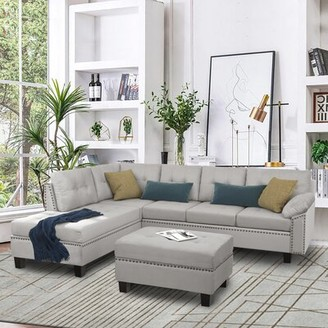 """Red Barrel Studio Dharia 105.1"""" Wide Microfiber Left Hand Facing Sofa & Chaise with Ottoman"""