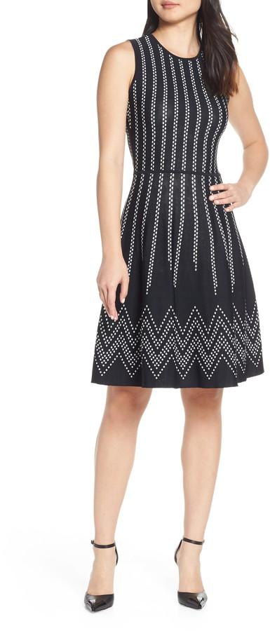 Eliza J Dot Pattern Fit & Flare Sweater Dress