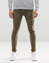 Asos Super Skinny Jeans With Extreme Rips In Light Green