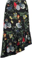 Tibi Seville asymmetric floral-print silk midi skirt