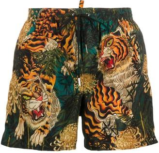 DSQUARED2 Tiger Print Swim Shorts