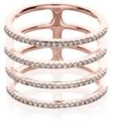 Ef Collection Diamond & 14K Rose Gold Multi Spiral Midi Ring