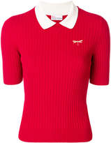 RED Valentino ribbed dragonfly polo top