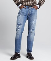 Todd Snyder Slim Fit Selvedge Destroyed and Repaired Denim Jean