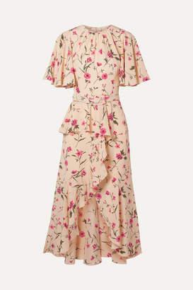 Michael Kors Belted Ruffled Floral-print Silk Crepe De Chine Midi Dress - Pink