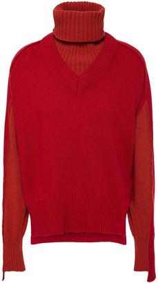 Cédric Charlier Convertible Wool-blend Turtleneck Sweater