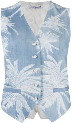 Ermanno Scervino Palm-Print Denim Waistcoat