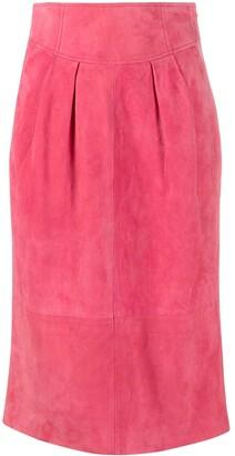 Alberta Ferretti High-Rise Suede Pencil Skirt