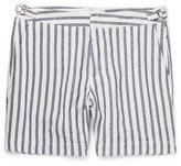 Orlebar Brown Bulldog Slim-fit Striped Cotton And Linen-blend Shorts - Navy