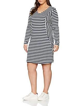 Junarose Women's Jrrise Ls Above Knee Dress-S, Multicolour (Navy Blazer Y/D Snow White Stripes), (Size: Oversize M)