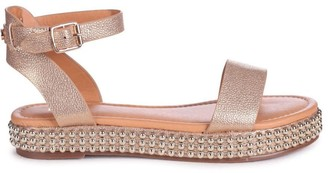 Linzi CALL ME BABY - Gold Nappa Two Part Sandal With Studded Trim Detail
