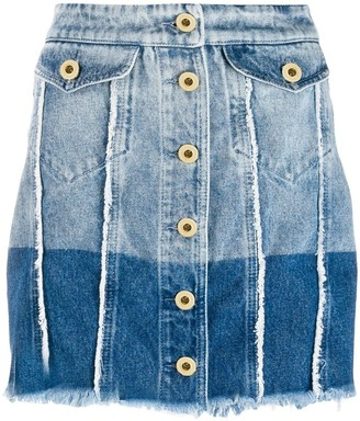 Versace Jeans Couture Two-Tone Denim Skirt