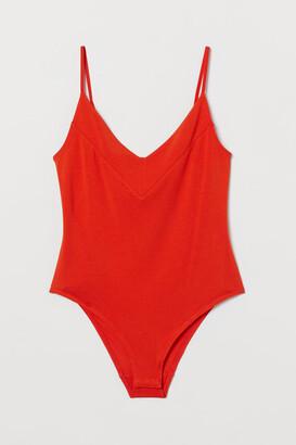 H&M Silk-blend Bodysuit - Orange
