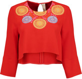 Peter Pilotto Athena cropped embroidered crepe top