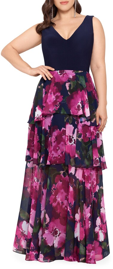 Xscape Evenings Tiered Chiffon Gown