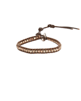 Chan Luu Rose Gold Nugget on Brown Leather Bracelet