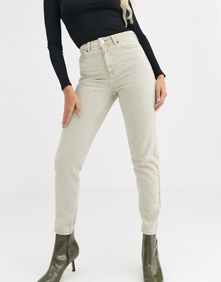 Topshop mom jeans in sand
