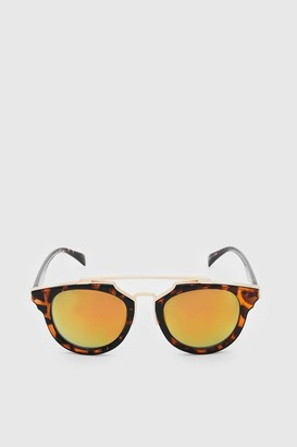 boohoo Mens Orange Mirror Lens Top Bar Sunglasses, Orange