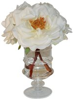 The French Bee Bloomed Roses In Hand Blown Footed Glass Vase
