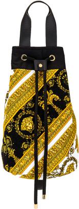 Versace Baroque Beach Bag in White & Gold & Black   FWRD