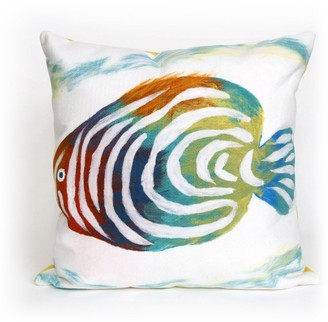 "Liora Manné Visions III Rainbow Fish Indoor/Outdoor Pillow Pearl 20"" Square"