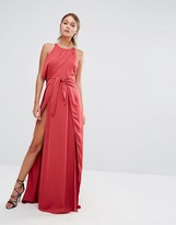 Style Stalker Stylestalker Tie Front Maxi Dress with Thigh Split
