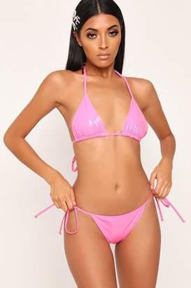 I SAW IT FIRST Baby Pink Pvc Strappy Bikini Bottoms
