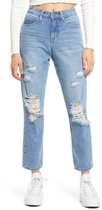 BP Ripped High Waist Mom Jeans