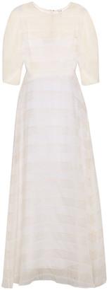 Mansur Gavriel Layered Striped Silk-voile Maxi Dress