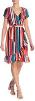 Just For Wraps Striped Ruffle Trim Dress